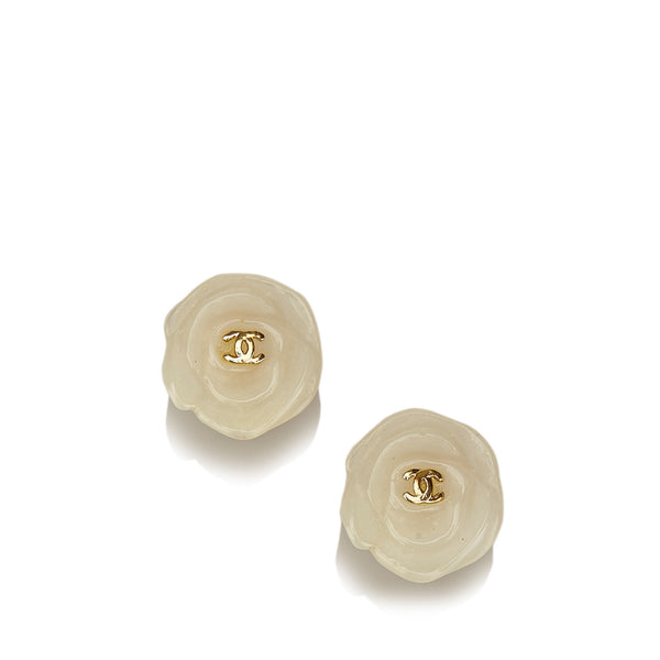 Chanel PVC Camellia Clip-on Earrings