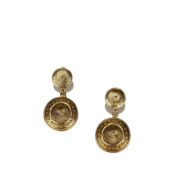 Chanel Gold-Tone Drop Clip-On Earrings
