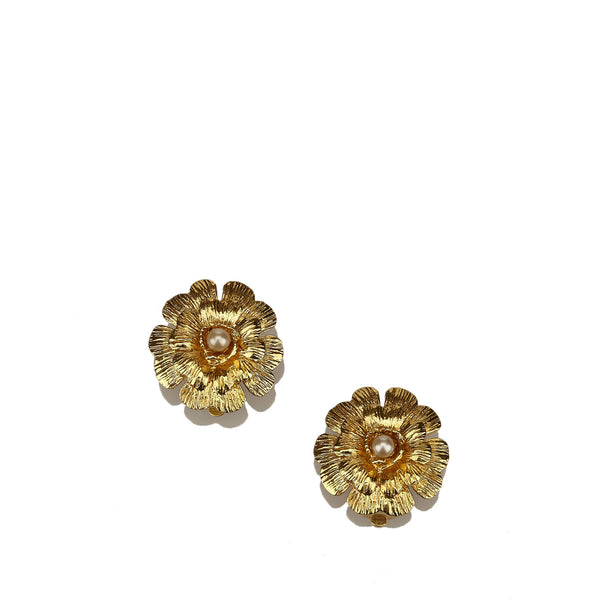 Chanel Faux Pearl Floral Gold-Tone Clip-On Earrings
