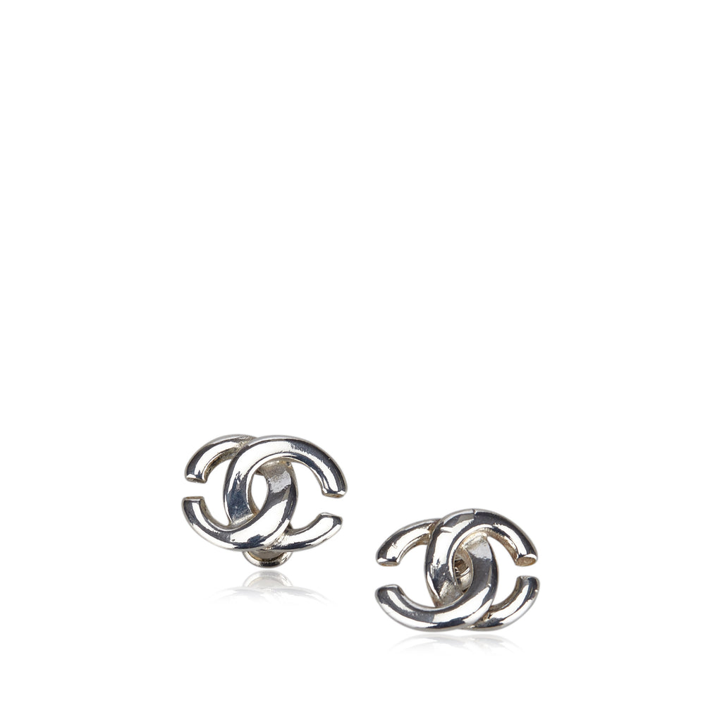 Chanel Silver-Tone CC Earrings