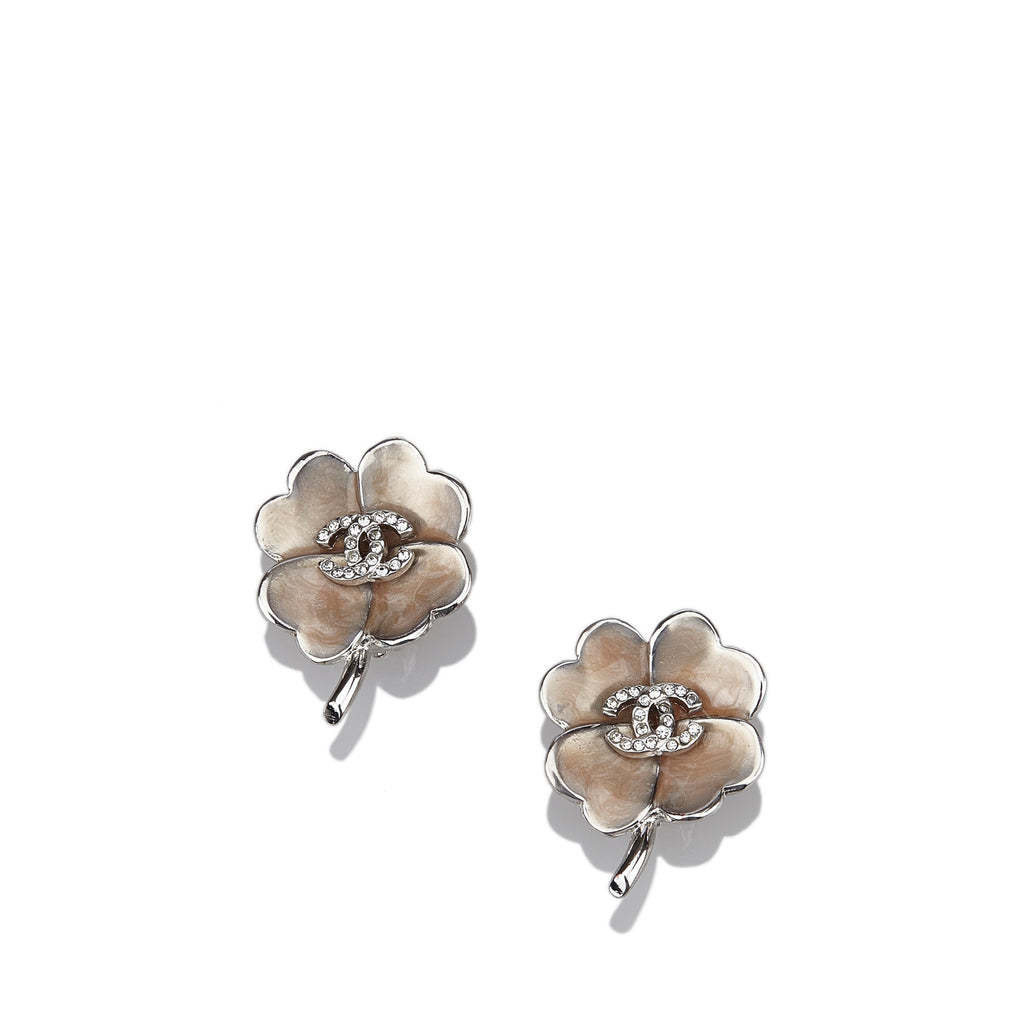 Chanel CC Camelia Clip On Earrings