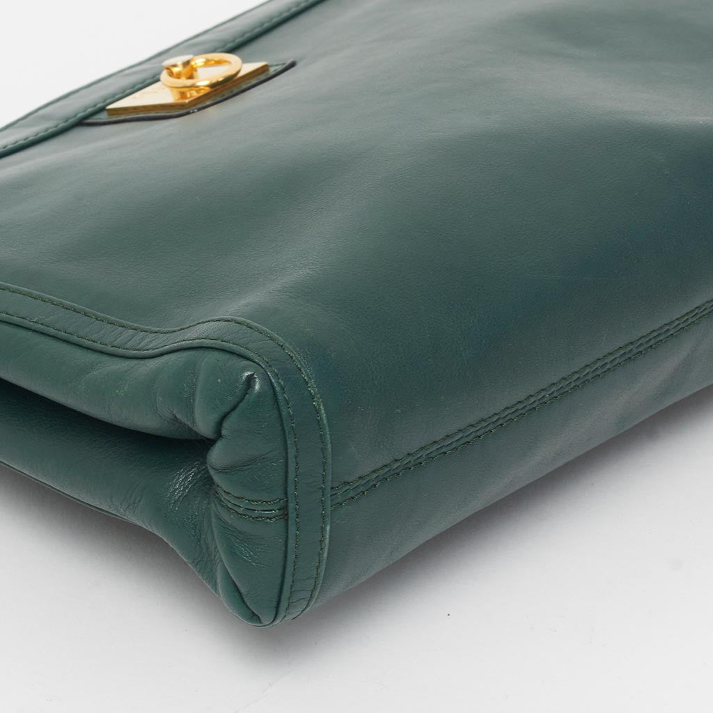 Vintage Celine green clutch