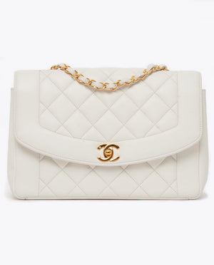"Vintage Chanel 10"" white classic Diana flap bag"