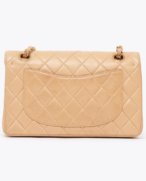 "Vintage Chanel 9"" beige classic flap bag"