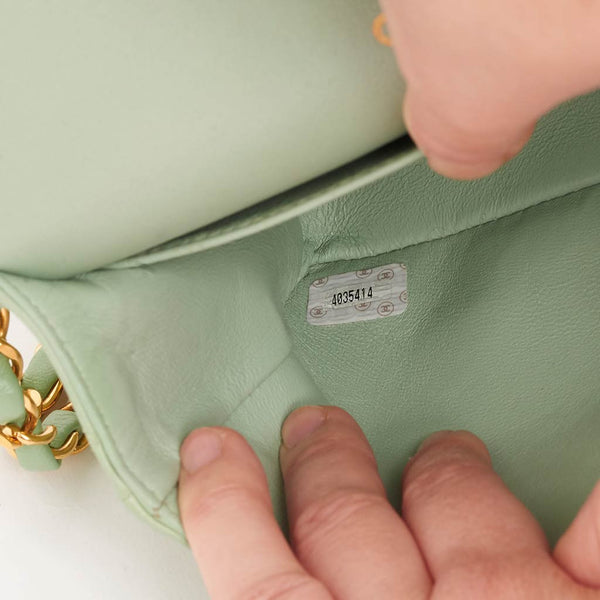 "Vintage Chanel 9"" green classic flap bag"