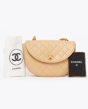 Vintage Chanel beige mini quilted cross body bag
