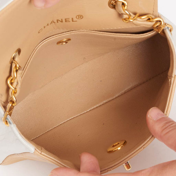 Vintage Chanel bi colour beige mini flap bag