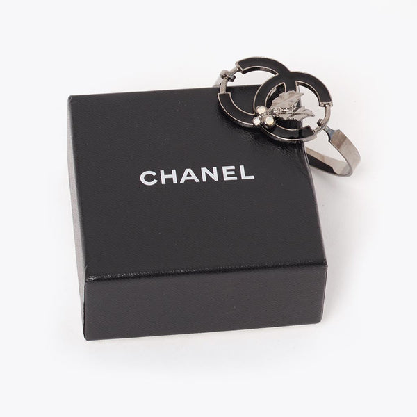 Vintage Chanel black enamel CC pewter bangle
