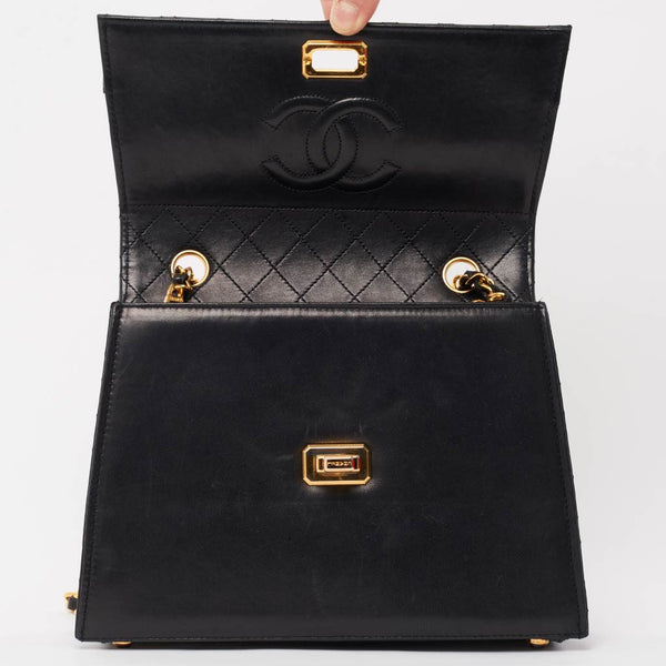 Vintage Chanel black trapezoid bag matching purse