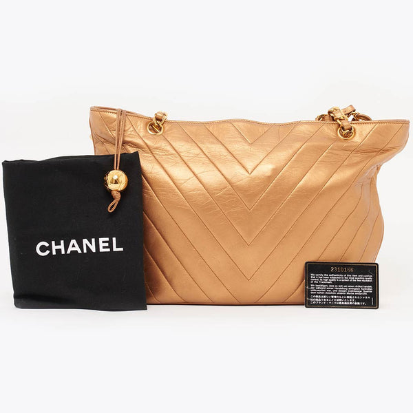 Vintage Chanel bronze chevron quilted shoulder bag