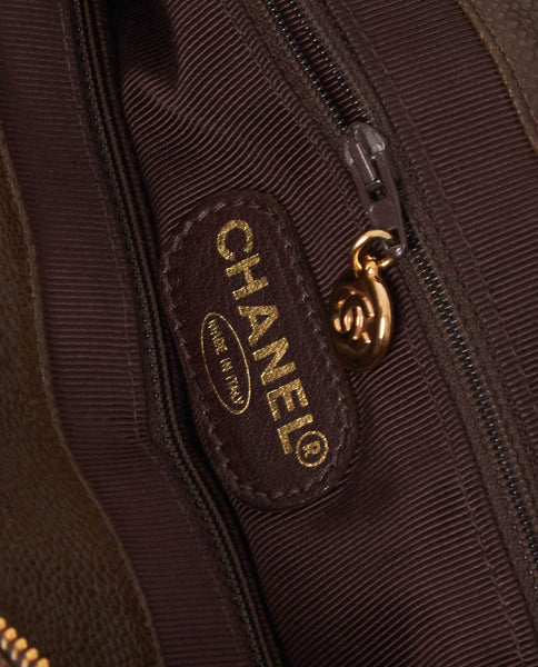 Vintage Chanel brown caviar skin tote