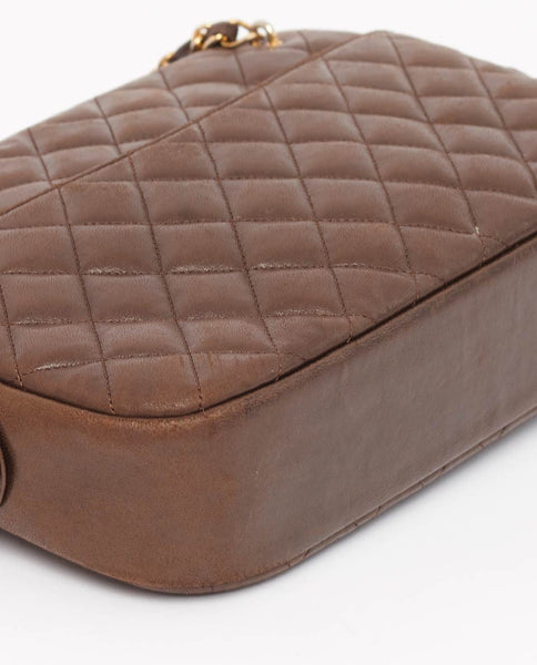 Vintage Chanel brown quilted shoulder bag