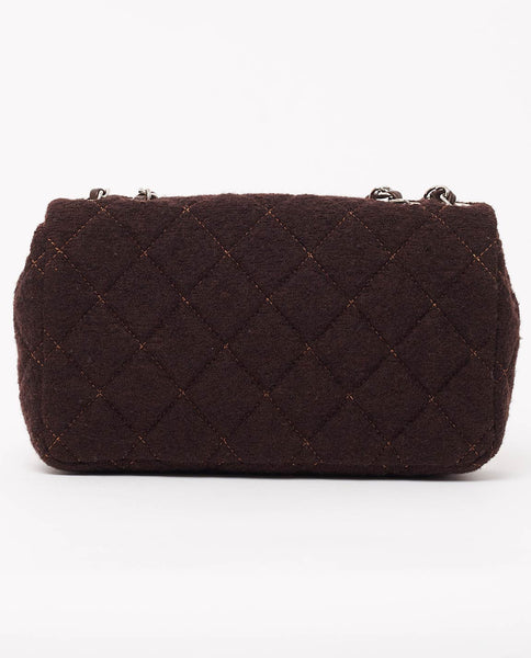 Vintage Chanel brown wool single flap classic bag