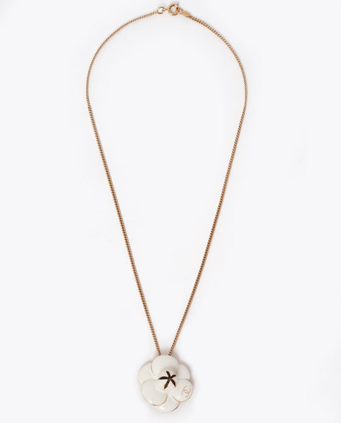 Vintage Chanel camellia flower necklace