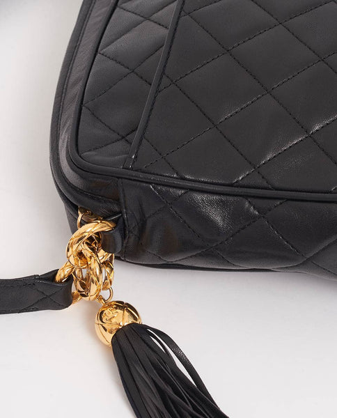 Vintage Chanel camera style bag side tassle