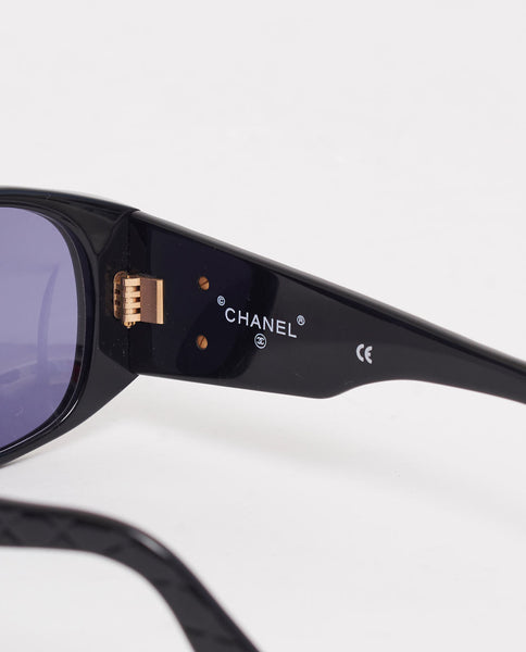 Vintage Chanel CC quilted arm sunglasses