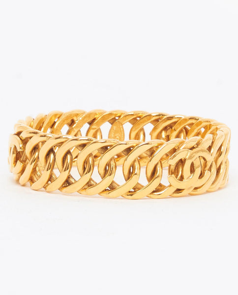 Vintage Chanel chain link and CC logo bangle
