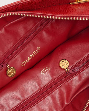 Vintage Chanel chevron red quilted caviar skin shoulder bag