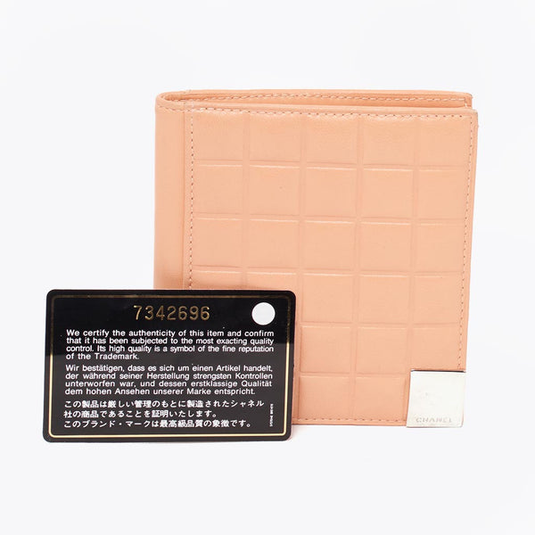 Vintage Chanel chocolate bar salmon pink wallet