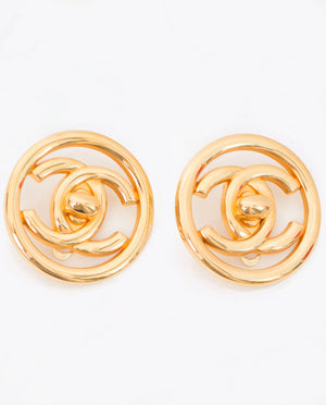 Vintage Chanel circular CC lock earrings