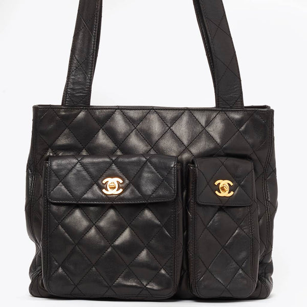 Vintage Chanel lambskin double pocket tote