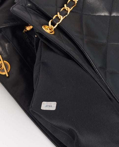 Vintage Chanel lambskin large tote with side tassle