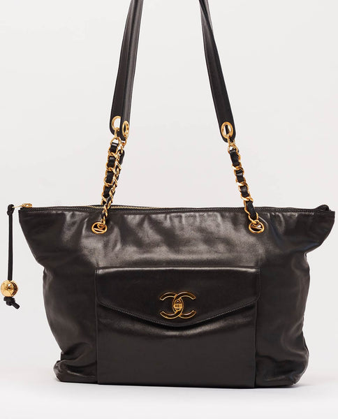 Vintage Chanel lambskin shoulder tote
