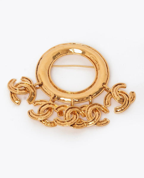 Vintage Chanel large 5 charm CC brooch