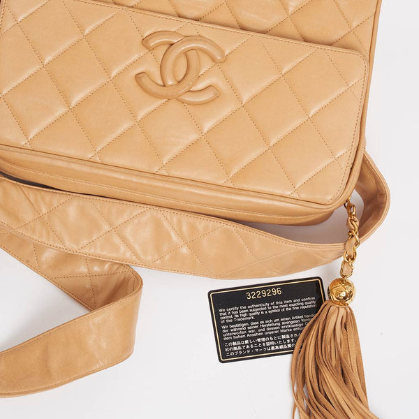 Vintage Chanel large beige camera style bag