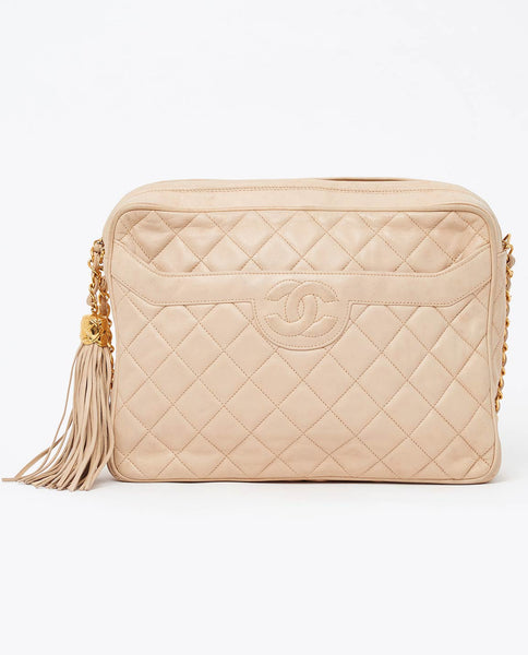 Vintage Chanel large beige camera style cross body bag