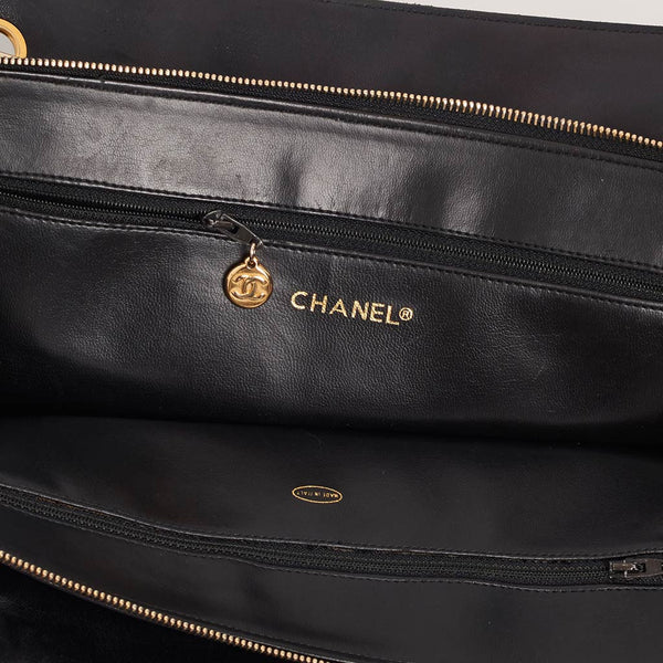 Vintage Chanel large lambskin tote with CC charm