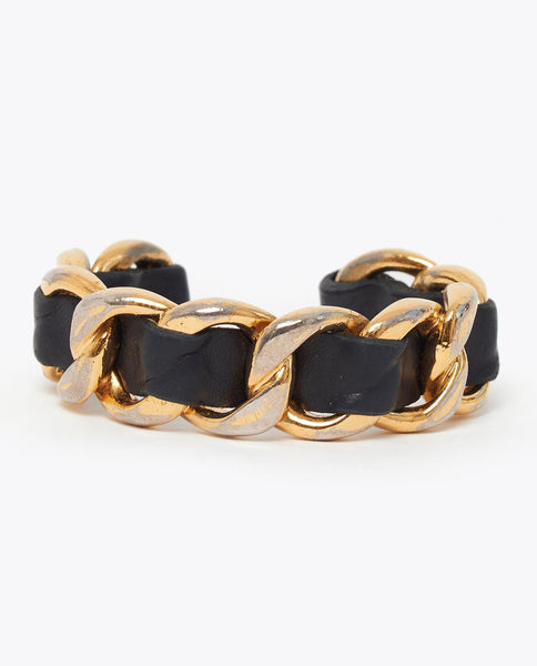 Vintage Chanel leather and gold link bangle
