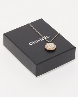 Vintage Chanel mother of pearl camellia necklace