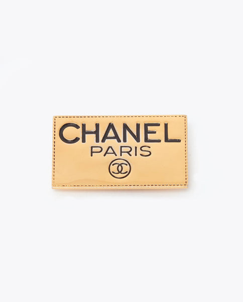 Vintage Chanel name tag brooch