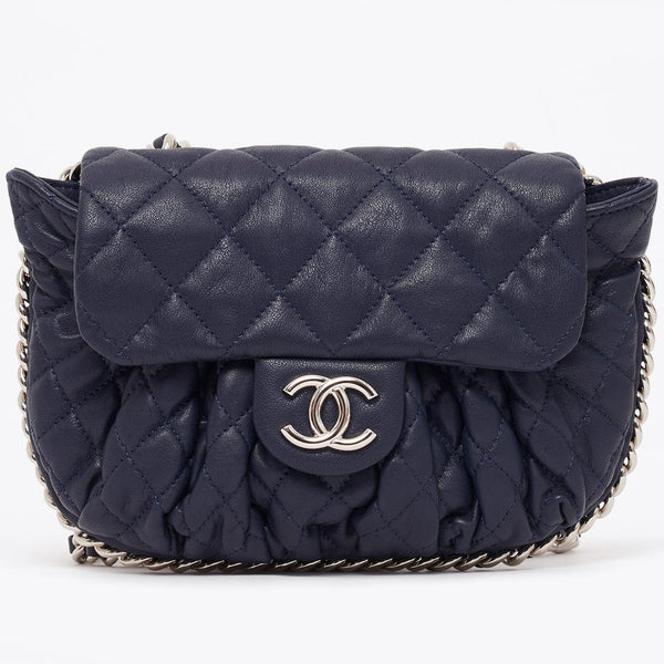 Vintage Chanel navy chain around small cross body bag