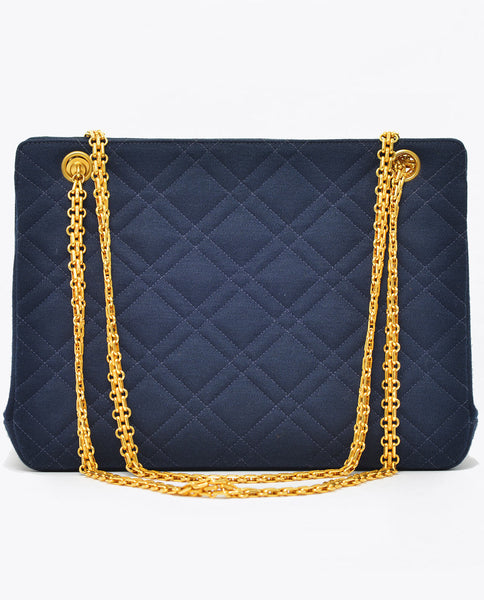 Vintage Chanel navy quilted jersey cross body matching purse