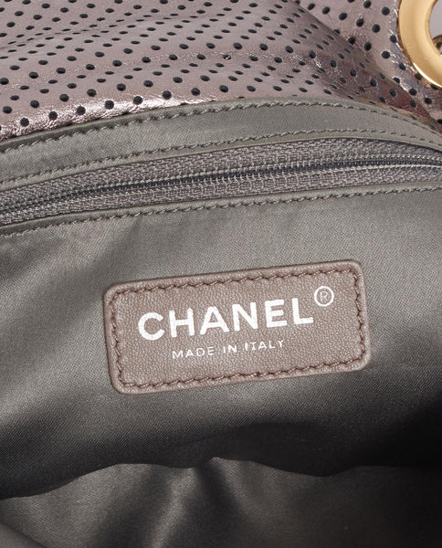 Vintage Chanel perforated metallic 2.55 classic flap bag