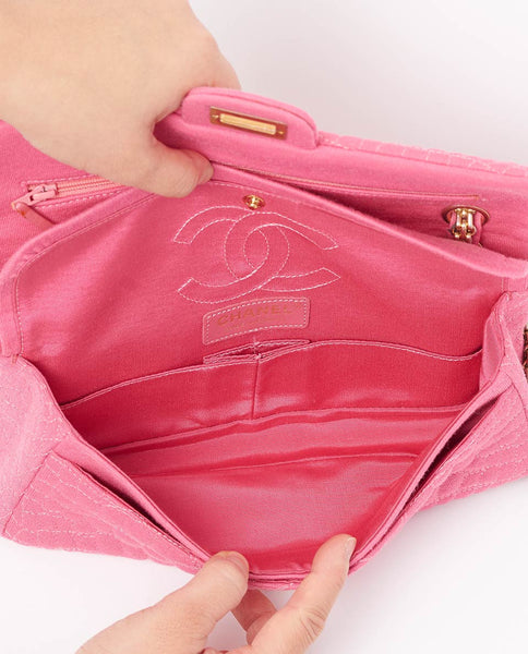Vintage Chanel pink jersey embroidered 2.55 classic flap bag