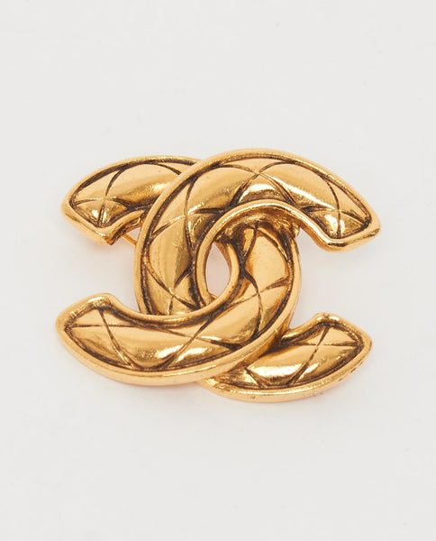 Vintage Chanel quilted CC brooch