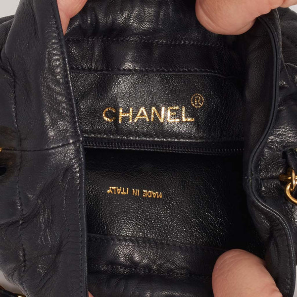Vintage Chanel quilted drawstring bag