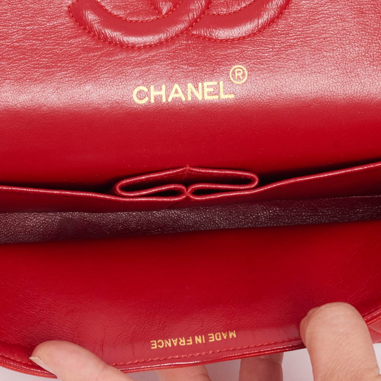 "Vintage Chanel red 10"" classic flap bag"