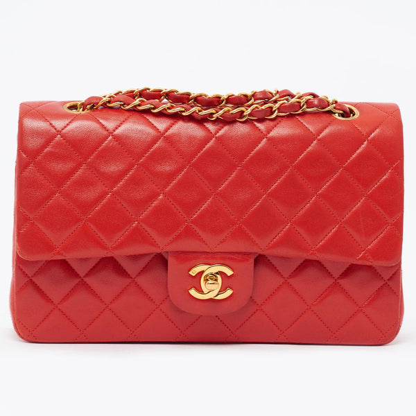 "Vintage Chanel red 9"" classic flap bag"
