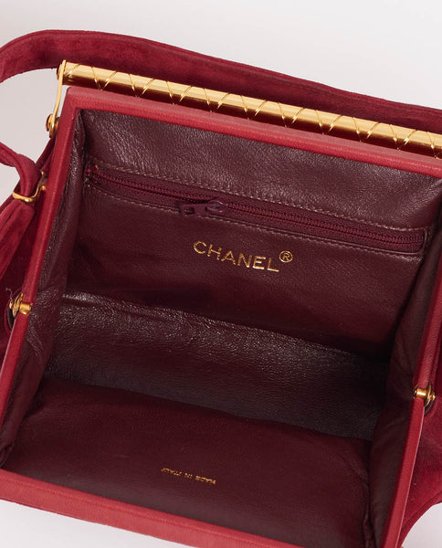 Vintage Chanel red suede handbag