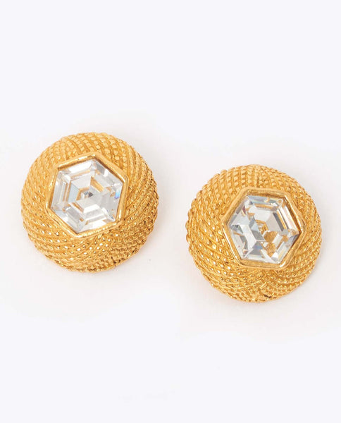 Vintage Chanel rhinestone clip on earrings