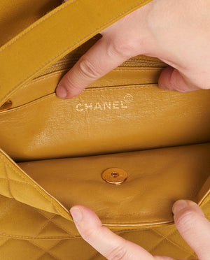 Vintage Chanel sateen double pocket shoulder bag
