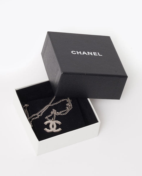 Vintage Chanel silver CC necklace