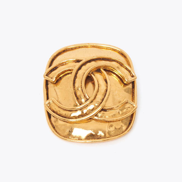 Vintage Chanel square CC gold brooch