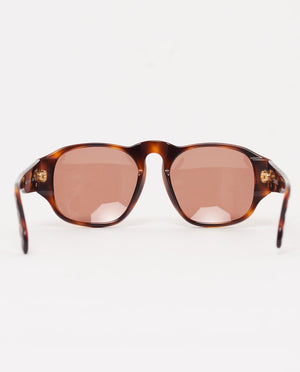 Vintage Chanel tortoiseshell quilted arm oval frame sunglasses