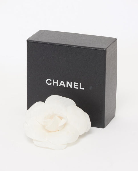 Vintage Chanel white camellia brooch