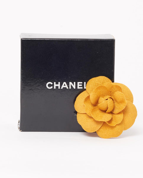 Vintage Chanel yellow camellia brooch